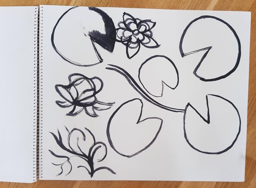 Skiss av näckrosblad